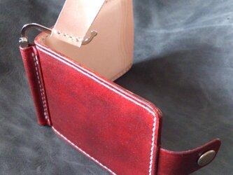 【レトロ&生成り】巾85mmフラットになるマネークリップ カード4枚+マルチポケット 札ばさみ MC-10rk ヌメ革の画像
