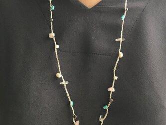 フランス製ラメ糸編み込み天然淡水パール&天然石の画像
