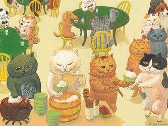 カマノレイコ オリジナル猫ポストカード「ごはん食堂」2枚セットの画像
