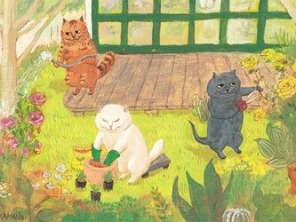 カマノレイコ オリジナル猫ポストカード「庭仕事」2枚セットの画像