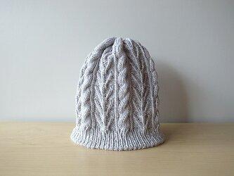 柔かなスーピマコットンのニット帽・スカイグレーの画像