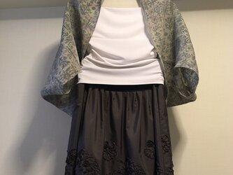 着物リメイク 麻 抽象柄 ひし形ボレロの画像