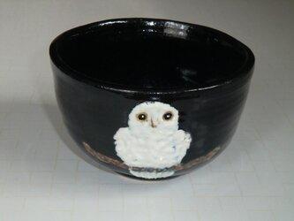 お抹茶茶碗・白フクロウの画像