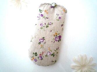花柄メガネケース パープルの画像
