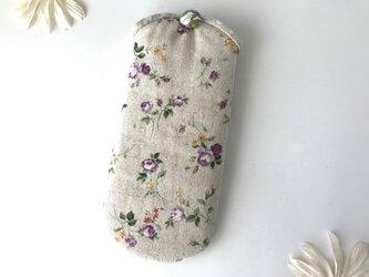 花柄メガネケース ナチュラル×パープルの画像