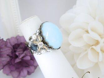 爽やかなスカイブルーガラスの指輪♪の画像