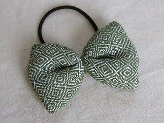 手織り布のヘアゴム ::goose eye/green::の画像