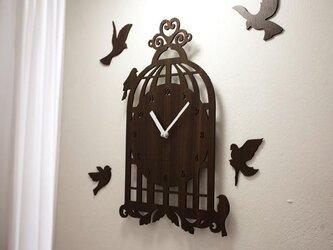 【ウォールクロック】BIRD HOUSE - ダークブラウンの画像