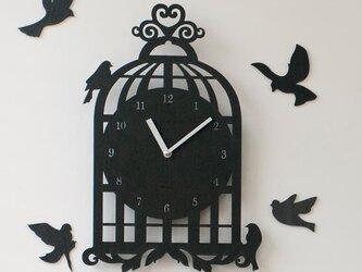 【ウォールクロック】BIRD HOUSE - ブラックの画像