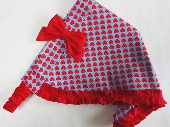 真っ赤なハートの三角巾−子供用の画像