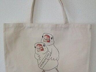 【オーダー受付中】「おんぶんちょ白×白」トートバッグ(Lサイズ)の画像