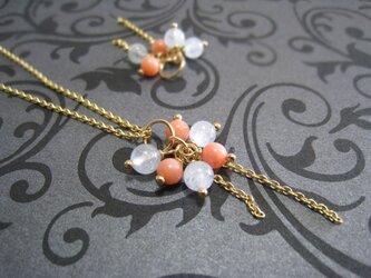 3月アクアマリン&ピンク珊瑚のチャームの画像