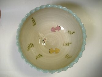 再販・金魚鉢(ボウル特大)金魚3匹の画像