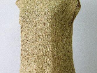 ☆セール第二弾☆ 草木染め シルクネップ糸の模様編みフレンチスリーブニット(カラシ色)の画像