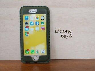 iPhone6s/6 カバー ケース 緑【選べるステッチ】【名入れ可】の画像