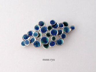七宝のブローチ【紺・青緑色】 YujiKONO MossシリーズRyu Eの画像