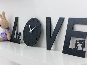 【ウォールクロック】LOVE IS - ブラックの画像