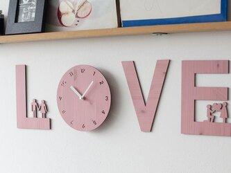 【ウォールクロック】LOVE IS - ピンクの画像