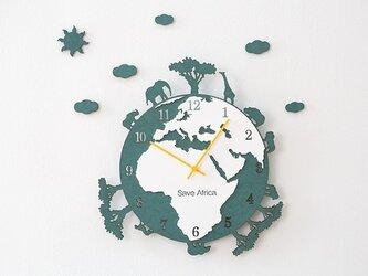 【ウォールクロック】SAVE AFRICA グリーンの画像