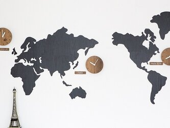 【ウォールクロック】WORLD TIME MONO ブラックの画像