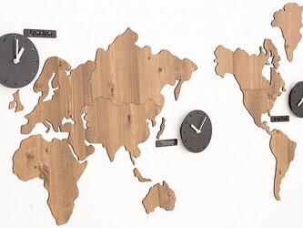 【ウォールクロック】WORLD TIME MONO ブラウンの画像