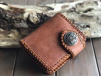 ハーマンオークレザー  二つ折り財布 コンチョ付きの画像