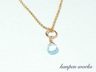 14kgf 11月の誕生石 宝石質 スカイブルー トパーズ リング 一粒 ネックレスの画像