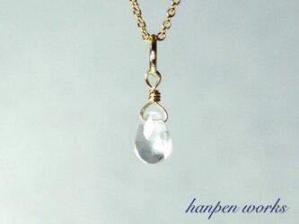 14kgf 4月の誕生石 宝石質 クリスタル (水晶) リング 一粒 ネックレスの画像