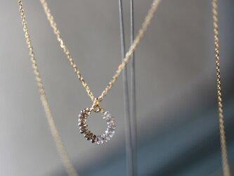 K18 ディスクダイヤモンド サークルネックレスの画像