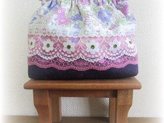 バネ口ポーチ(大) 花柄×パープルの画像