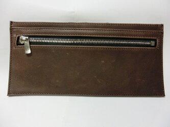 超薄型 長財布 ブラウンの画像