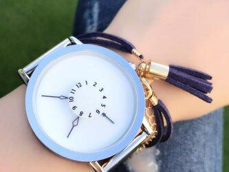 ステンレス *シンプルペアウォッチ* ホワイト×ホワイト 腕時計 <d-004>の画像