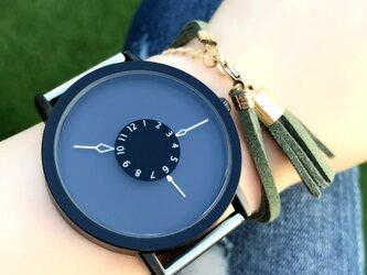ステンレス *シンプルペアウォッチ* ブラック×ブラック 腕時計 <d-001>の画像