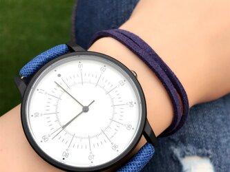 2size カジュアルペアウォッチ ブルー腕時計 <m-0012>の画像