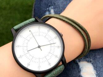 2size カジュアルペアウォッチ グリーン腕時計 <m-0034>の画像
