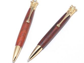 手作りの木製の回転式ボールペン(ココボロ;24金のメッキ)(CJ-24G-CO)の画像