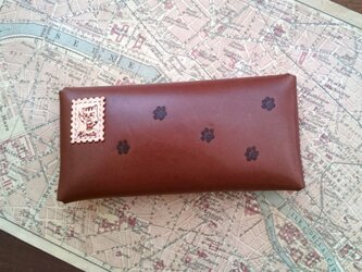 【N様オーダー品】本革栃木レザー 封筒型ペンケース(足跡付き) チョコ 猫の画像