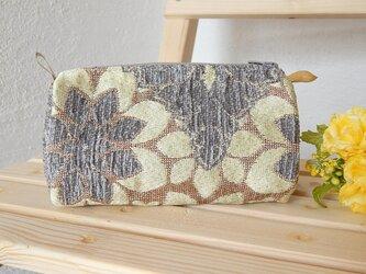 ゴブラン織 モロカンマチ付きポーチ グレーの画像