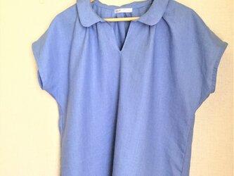 【ご予約商品】ブルーリネン 襟付きチュニックブラウスの画像