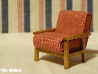 ドール用ソファ1人掛け(色:ピンク×チェスナット) 1/12ミニチュア家具の画像