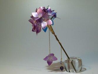 紫陽花(紫&青) 一本簪の画像