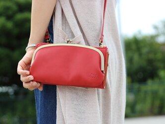 【送料無料】お財布ショルダー レッド がま口 スマホ財布 姫路レザー 赤aw-17nnsの画像