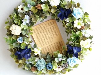 ~flowerリース~ *blue紫陽花×ローズ*の画像