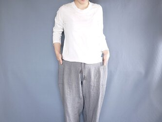 linen sidepocket pants (bluegray)の画像