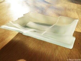 ガラスのお皿 -「 かくいガラス 」● 18x14 (cm)・つや消し・ほんのり青緑色の画像