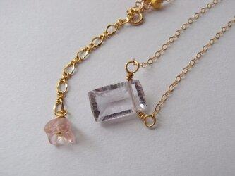 14kgf 宝石質ローズアメジストのネックレスの画像