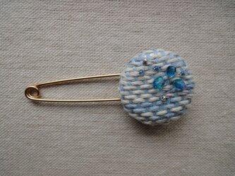 手織り ストールピン ブルーの画像
