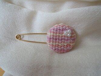 手織り ストールピン ピンクの画像