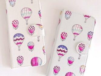 【手帳型】 消しゴムはんこから作るスマホケース✴︎気球の画像