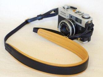 やわらか 革のカメラストラップ(名入れ可) 黒※受注生産の画像